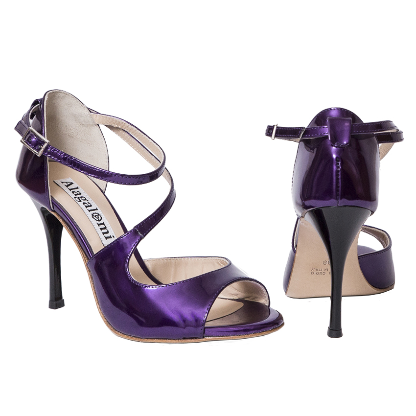 Alagalomi Tango Shoes. Closed back heel cage, patent purple leather, black heels, 361 KB