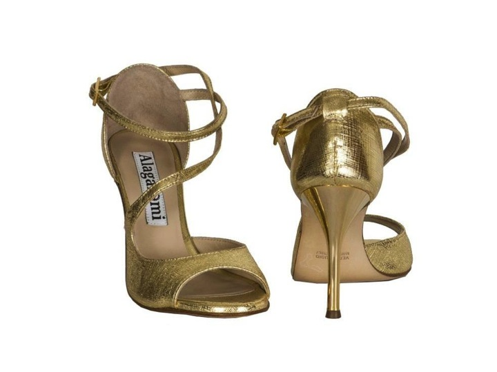 Alagalomi Tango Shoes. Closed back heel cage, gold leather, gold heels, 44 KB