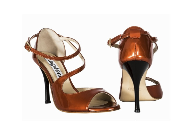 Alagalomi Tango Shoes. Closed back heel cage, patent burned orange color leather, black heels, KB 50