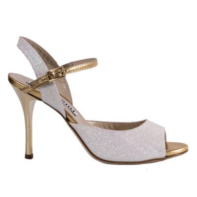 Tango shoe: Open back heel cage. High heel. White Glitter and Gold details, 329 KB