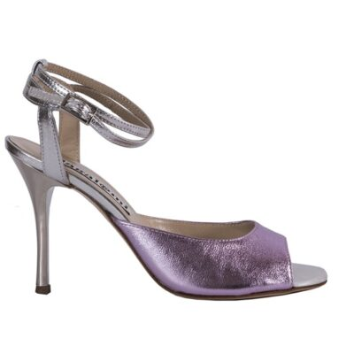 Tango shoe laminated pink and silver. open back heel cage. made in Italy, 43KB