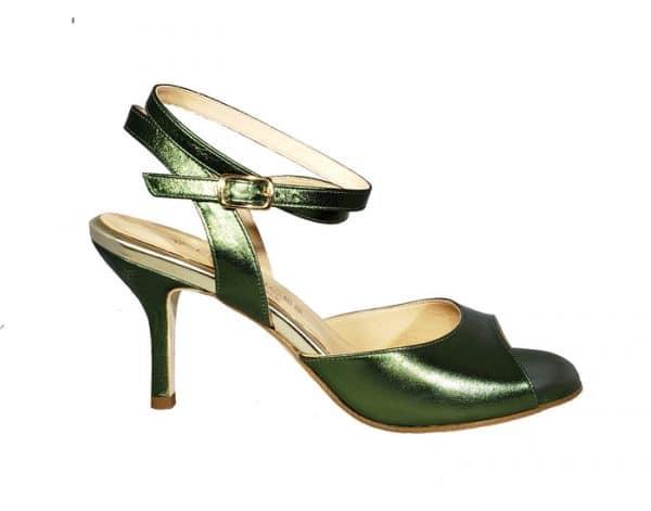 tango shoe, open heel, green jpg 167 KB