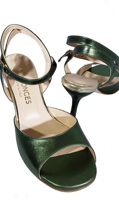 tango shoe, open heel, green jpg 213 KB