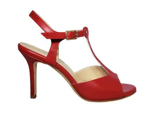 red tango shoe, open heel, entonces, tangotana, jpg 14 KB